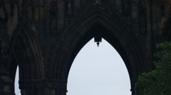 The Scott Monument's arches in Edinburgh Stock Footage