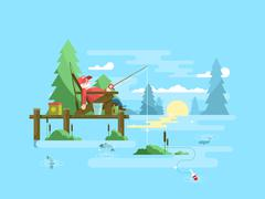 Rest fishing design - stock illustration