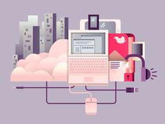 Cloud hosting design flat Stock Illustration