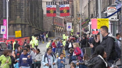 Many tourists on the Royal Mile near The Hub, Edinburgh - stock footage