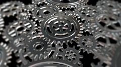 Rotating metal gears loop - stock footage