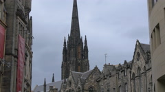 The Hub bell tower seen from Johnston terrace street, Edinburgh Stock Footage
