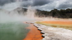 Stormy sky at champagne pool at rotorua nz Stock Footage