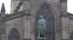 Walter Scott monument in front of the St Giles' Cathedral, Edinburgh Stock Footage