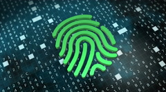 Fingerprint Digital security concept. Successful pattern recognition. - stock footage