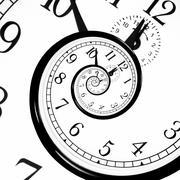 Time Warp - Time Dilation. Quantum mechanics meets general relativity. Stock Illustration