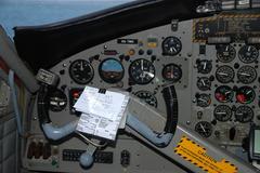 Airplaine cockpit - stock photo
