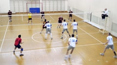 Russia, Novosibirsk. 21 october 2015. High School Volleyball game. Timelapse of - stock footage