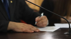 Sign the contract papers  documents Stock Footage