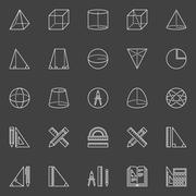 Geometry and math icons Stock Illustration