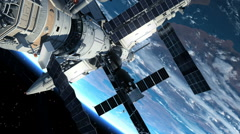 Astronaut Outside The Space Station Stock Footage