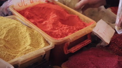 Different spices at local market Stock Footage