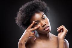 Young and beautiful black woman - stock photo