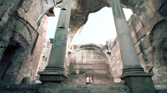 Inside suggestive roman temple dolly lateral Stock Footage
