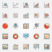 Business diagrams and charts icons - stock illustration