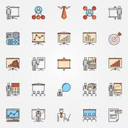 Conference and business presentation icons Stock Illustration