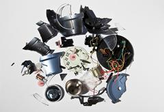 Stock Photo of Pile of smashed clock parts