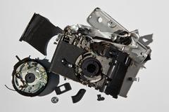 Stock Photo of Pile of smashed camera parts