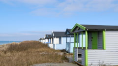 Colourful beach huts in Falsterbo makes you happy Stock Footage