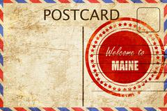 Vintage postcard Welcome to maine - stock illustration
