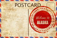 Vintage postcard Welcome to alaska - stock illustration