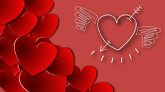 Hand drawn white heart on red background Stock Footage