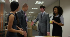 4k, Multi-ethnic business people shake hands with clients Arkistovideo