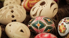 Hands pastry decorating chocolate eggs easter Stock Footage