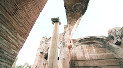 Ancient column in roman emperor residence dolly camera Stock Footage