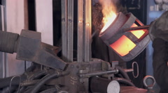 Liquid molten metal melted in furnace at metallurgical plant Stock Footage