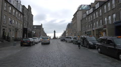 Statue seen on Castle street, on a cloudy day in Edinburgh Stock Footage