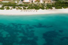 Aerial view of coastline, aruba Stock Photos