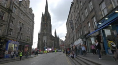 The Hub seen from the Lawnmarket on a cloudy day in Edinburgh Stock Footage