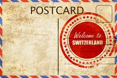 Vintage postcard Welcome to switzerland - stock illustration
