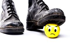 Army Boots and Emoticon - stock photo