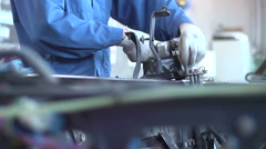 Master repairs car body Stock Footage