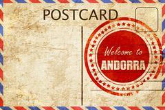 Vintage postcard Welcome to andorra - stock illustration