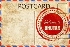 Vintage postcard Welcome to bhutan - stock illustration