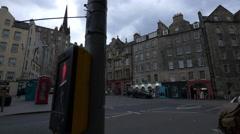 W Bow street seen from Grassmarket street in Edinburgh Stock Footage