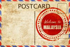Vintage postcard Welcome to malaysia - stock illustration