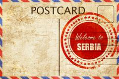 Vintage postcard Welcome to serbia Stock Illustration