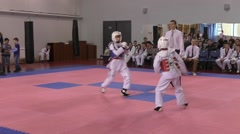 Orenburg, Russia - 27.03.2016: Taekwondo competitions among juniors - stock footage