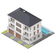 Modern three storey house with slant roof sometric icon set - stock illustration