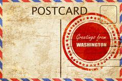Vintage postcard Greetings from washington - stock illustration