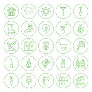 Line Circle Spring Gardening Tools Icons Set - stock illustration