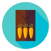 Three Carrots Garden Package with Seeds Circle Icon Stock Illustration