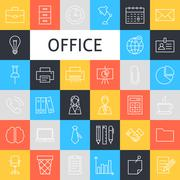 Stock Illustration of Vector Line Art Business Office Icons Set