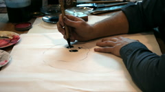 The artist draws on paper. Stock Footage