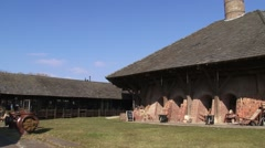 Pan drying yard, drying shed + tilt up tall chimney single shaft zigzag kiln Stock Footage