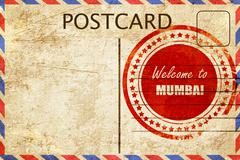 Stock Illustration of Vintage postcard Welcome to mumbai